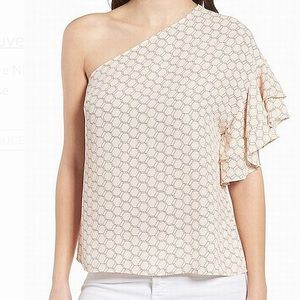 Trouve NEW Pink Women's Ruffle One-Shoulder Blouse